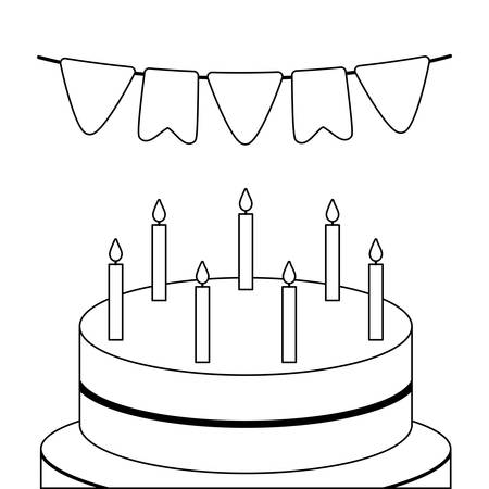 sweet cake with candles and garlands hanging vector illustration design