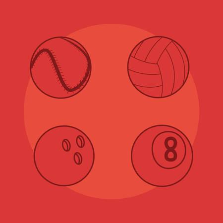 volleyball baseball bowling billiard sport balls equipment vector illustration