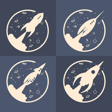 rockets space exploration travel vector illustration design