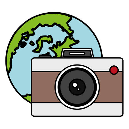 camera photographic with world planet earth vector illustration design 일러스트
