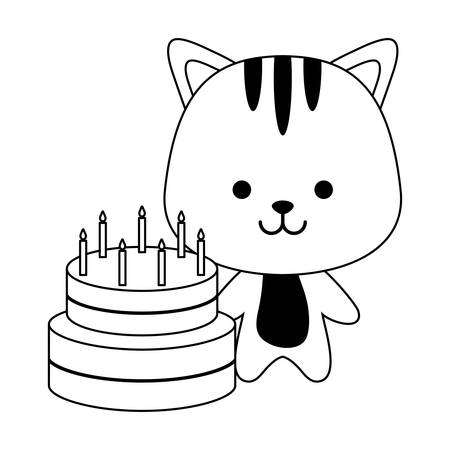 cute tiger with cake of birthday vector illustration design