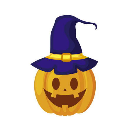 halloween pumpkin with hat witch vector illustration design Stockfoto - 129656857