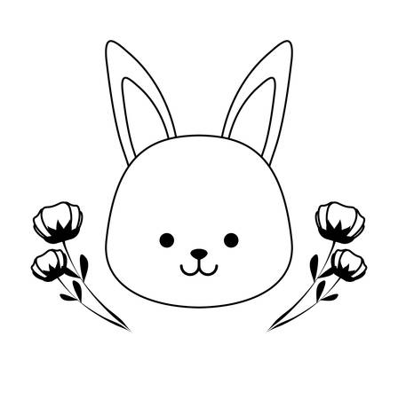 head of cute rabbit with flowers decoration vector illustration design