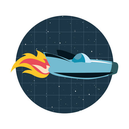 rocket ship flying through space vector illustration