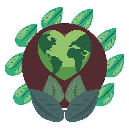 world shaped heart green happy earth day vector illustration