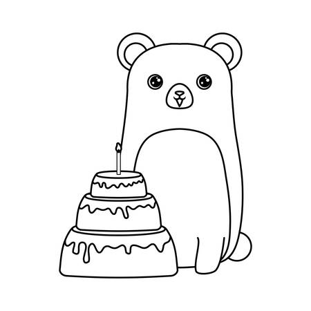 cute chipmunk animal with cake of birthday vector illustration design Stock Illustratie
