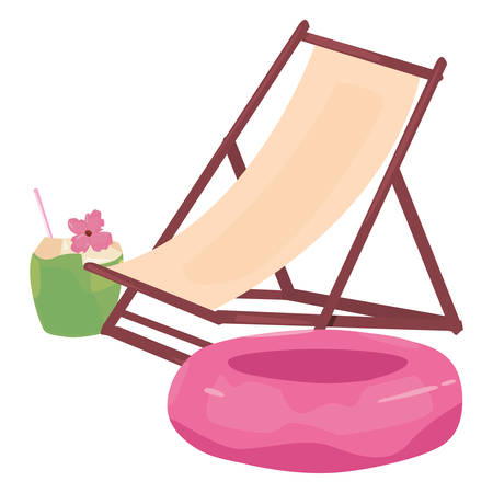 summer time holiday beach chair float and cocktail vector illustration