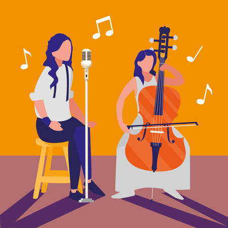 singer and musician couple characters vector illustration design Иллюстрация
