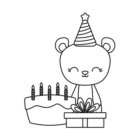 cute bear with cake of birthday and gift box vector illustration design Ilustração