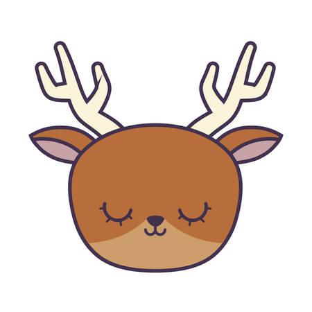 head of cute reindeer animal isolated icon vector illustration design Ilustracja