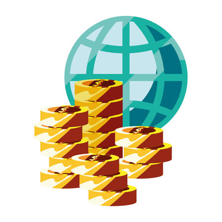 world coins stacked currency money vector illustration Çizim