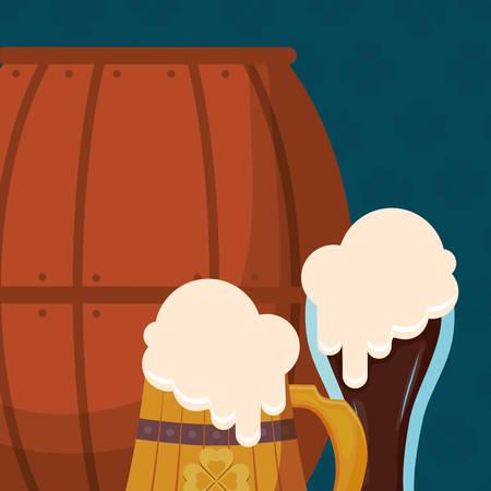 beer wooden jar and barrel with clover vector illustration design  イラスト・ベクター素材