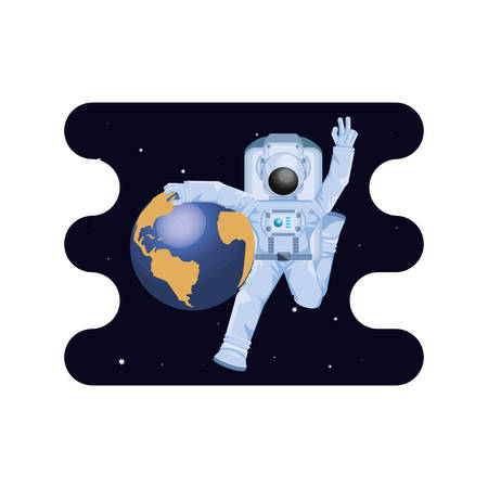 earth planet with astronaut scene space vector illustration design 일러스트