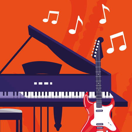 guitar electric and grand piano instruments musical vector illustration design Иллюстрация