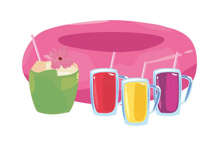 summer time holiday float drinks and coconut vector illustration Çizim