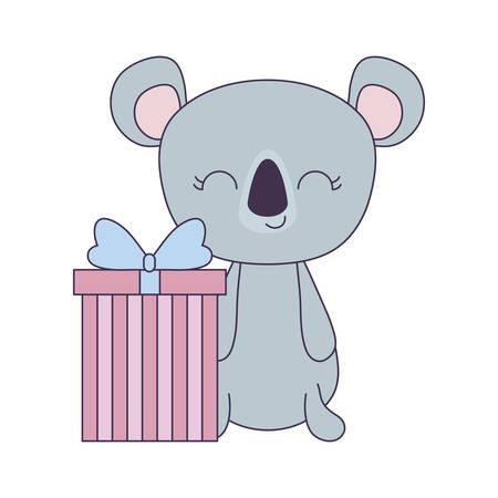 cute koala animal with gift box vector illustration design