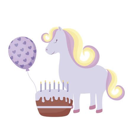 cute unicorn with cake birthday and balloon helium vector illustration design 일러스트