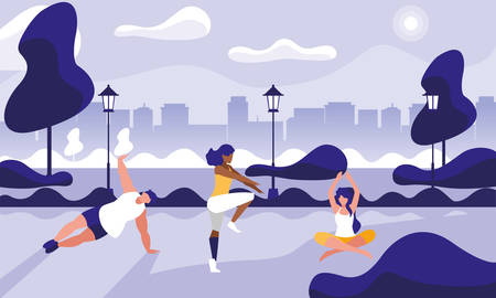 young people practicing outdoor gym vector illustration design