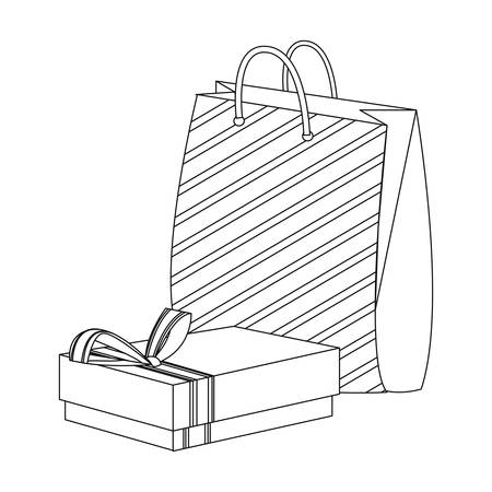 gift box and bag on white background vector illustration 일러스트