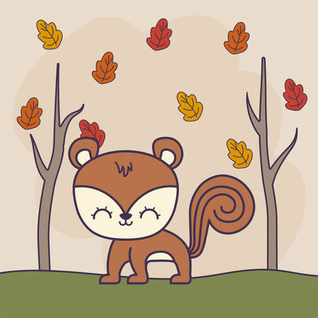 cute chipmunk animal with forest vector illustration design