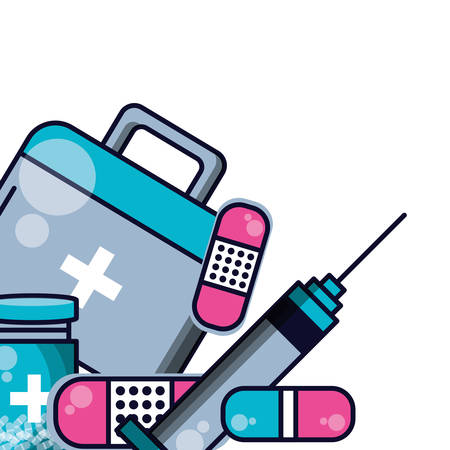 first aid kit with injection and set icons of medicine vector illustration design