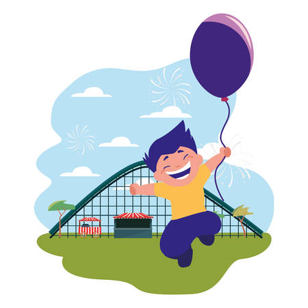 smiling boy holding balloon park amusement vector illustration  イラスト・ベクター素材
