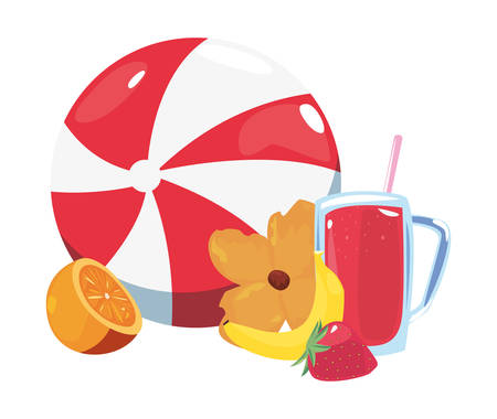 summer time holiday ball juice orange flower   vector illustration Çizim
