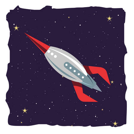 rocket spaceship galaxy stars cosmos vector illustration