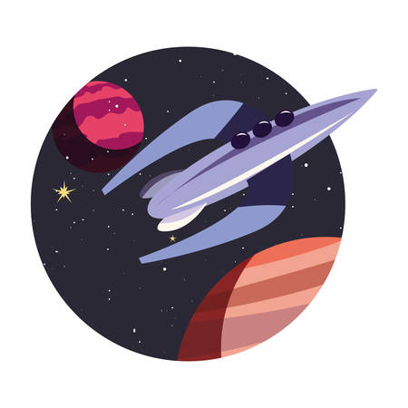 spaceship planets exploration astronomy vector illustration design
