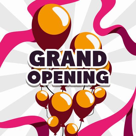 commercial grand opening balloons decoration vector illustration design Illusztráció
