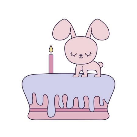 cute rabbit in cake of birthday vector illustration design Çizim