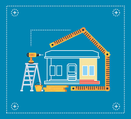 facade house under construction with rules and tools vector illustration design Иллюстрация
