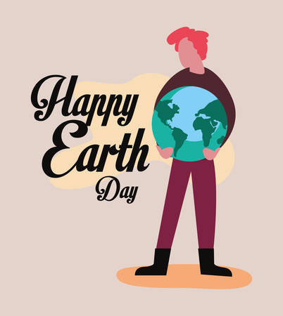 man with planet world happy earth day vector illustration 일러스트