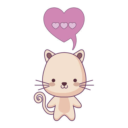 cute cat animal and speech bubble in shape heart vector illustration design