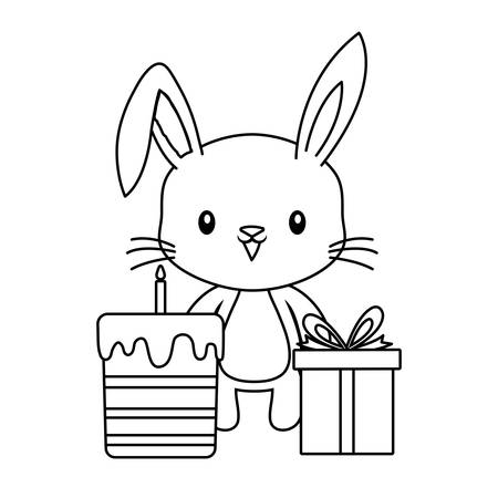 cute rabbit with cake of birthday and gift box vector illustration design