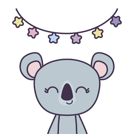 cute koala animal with garlands hanging vector illustration design Stock Illustratie