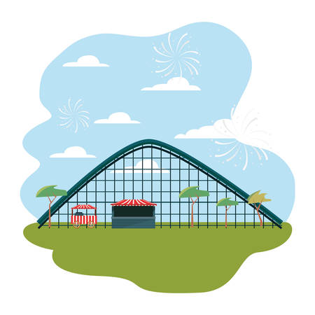 roller coaster food booth in the park amusement vector illustration 일러스트