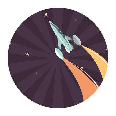 launching rocket spaceships mission vector illustration design Çizim