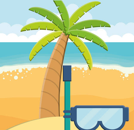 trees palms beach scene with snorkel vector illustration design