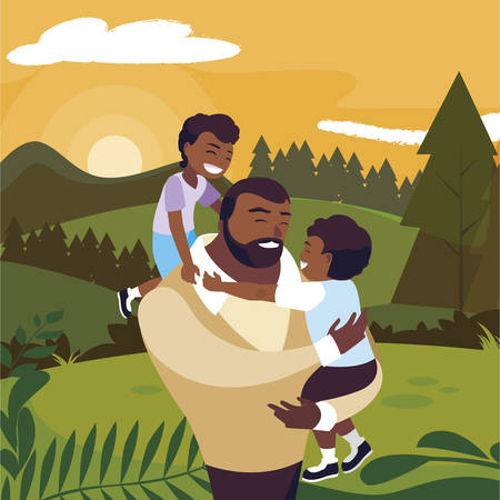 afro father with sons characters in the field vector illustration design Ilustracja