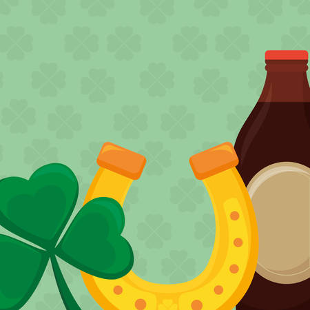 horseshoe lucky with beer bottle and clover vector illustration design 일러스트