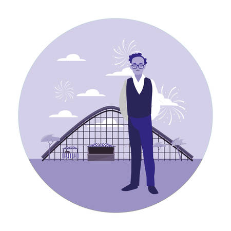 man in the amusement park vector illustration