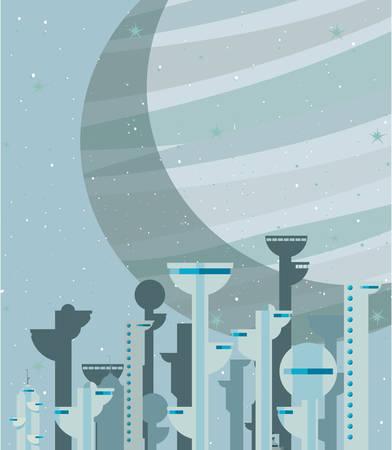 futuristic city building urban vector illustration design