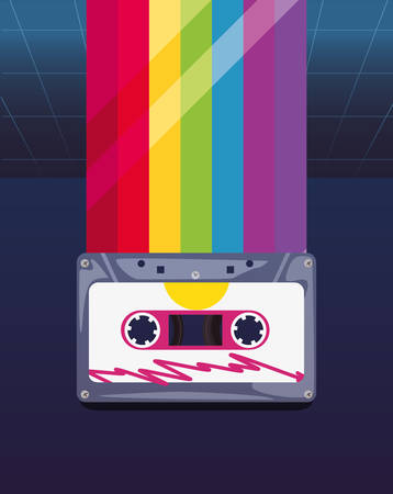 cassette tapes music rainbow retro 80s style vector illustration