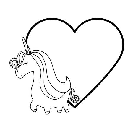 cute unicorn animal with heart love vector illustration design