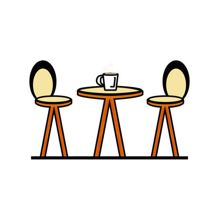 chairs with table isolated icon vector illustration design