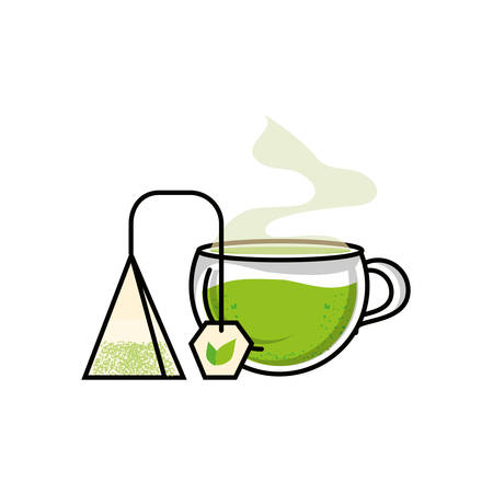 cup with bag tea herb isolated icon vector illustration design Ilustração