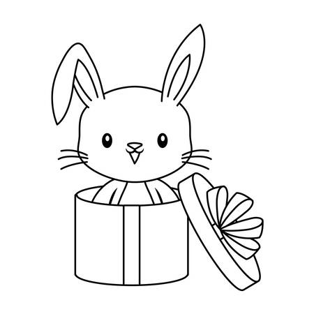 cute rabbit animal in gift box vector illustration design