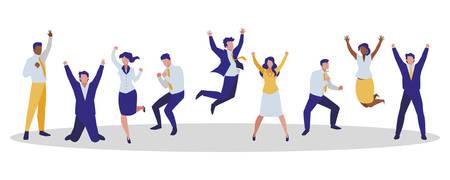 elegant business people celebrating characters vector illustration design Banque d'images - 129657145