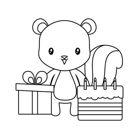 cute chipmunk with cake of birthday and gift box vector illustration design 일러스트